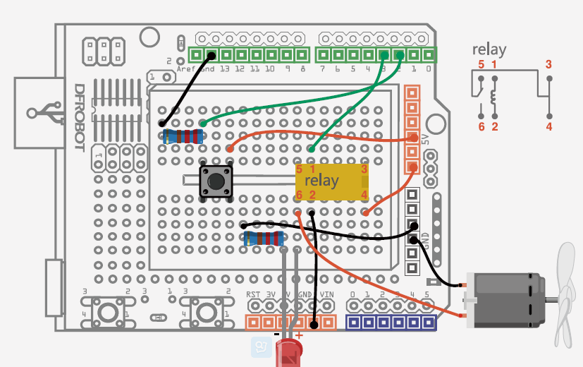 connect the button with a 220� pull-down resistor in order to hold the  logic signal near zero volts when the button is disconnected  the relay has  6 pins