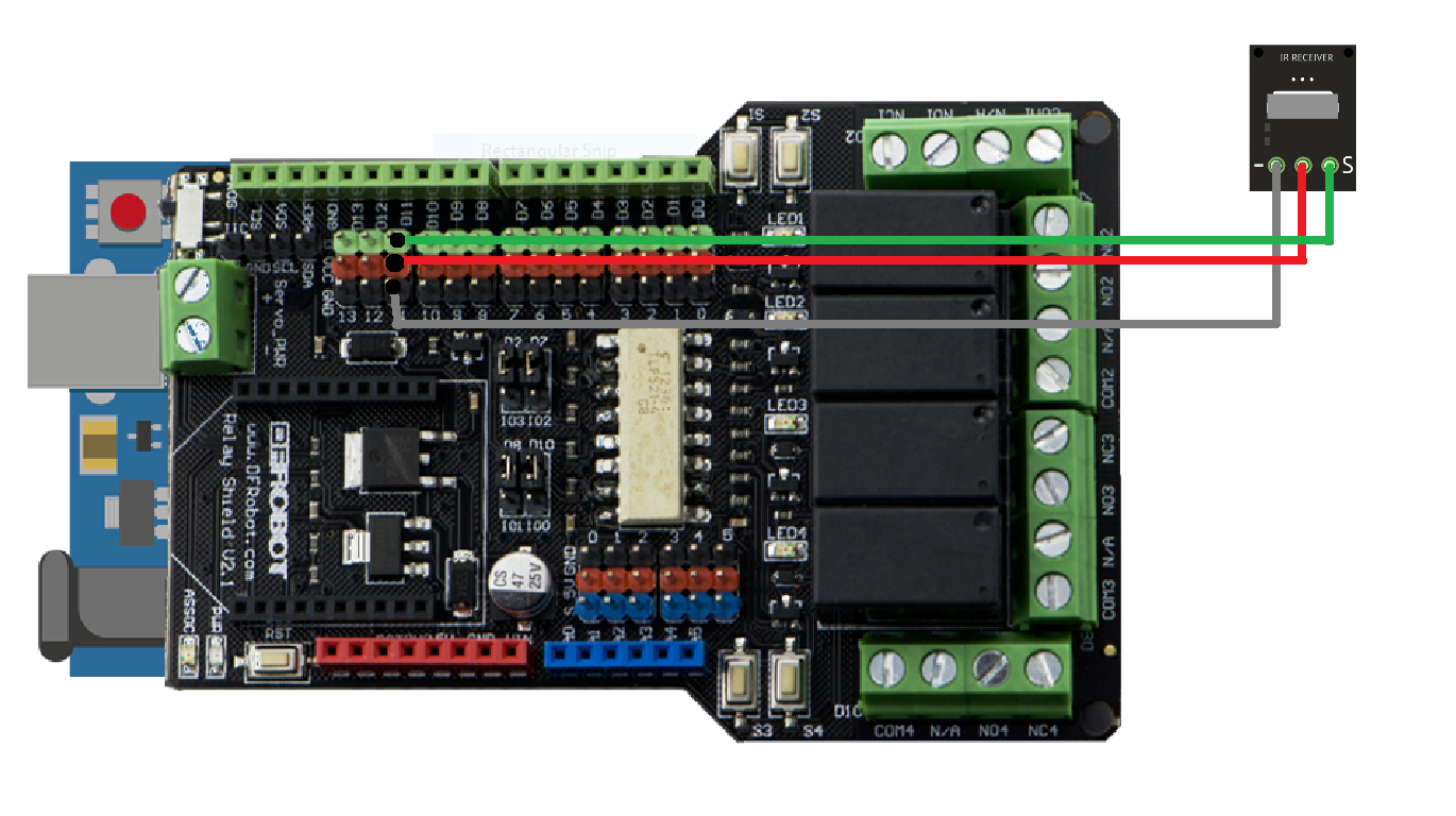 Home Automation Ir Automationir Based On Dfrobots Circuit By Using A Relay To Operate The Ac Mains Appliances An Connections Appliance