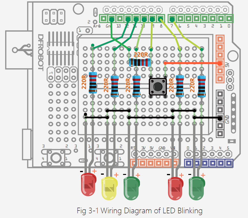 Arduino Tutorial Projectsarduino Project 3 Interactive Led Wiring Diagram The Circuit This Cable Provides A Steady 5v To If You Use Another Power Source There Is Chance Voltage Might Be Too High