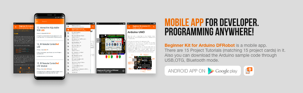 Beginner Kit for Arduino (Best Starter Kit) - MOBILE APP FOR DEVELOPER. PROGRAMMING ANYWHERE!