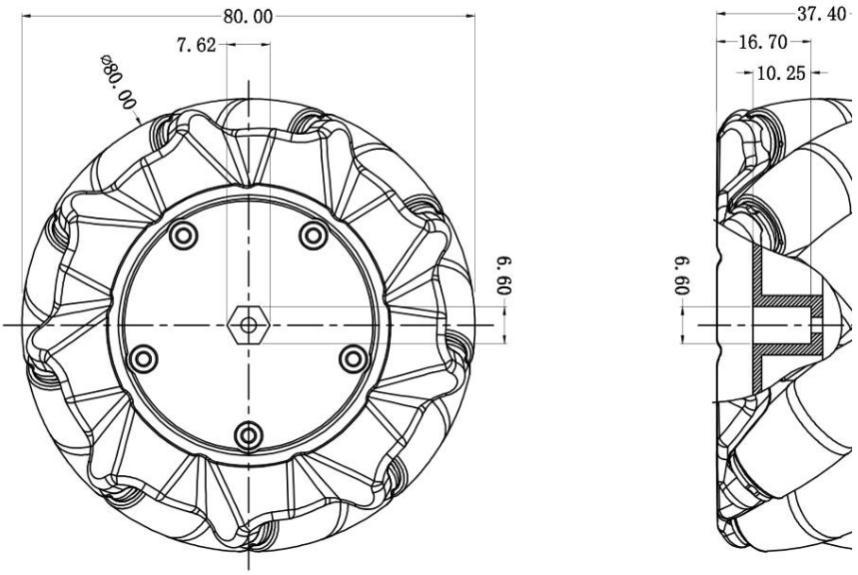 Mecanum Wheel Left (80mm)