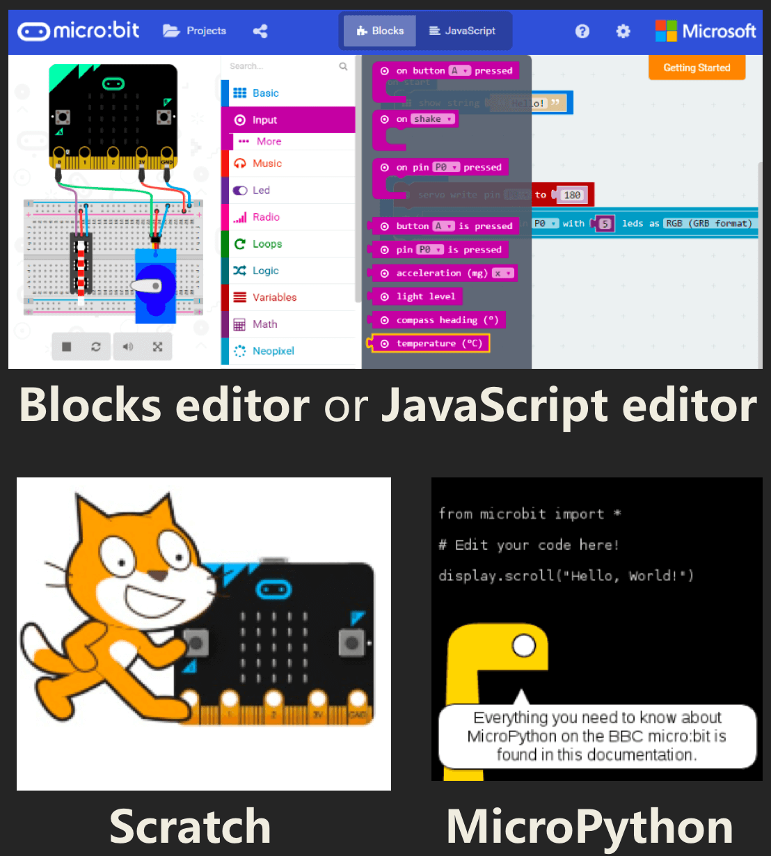 Program Max:Bot with Scratch, MakeCode block editor, Python or JavaScript