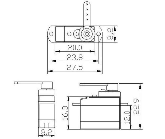 2.5g 360 degree Micro Servo (0.45kg) Schematic