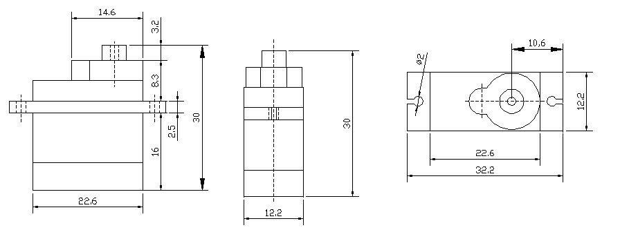 DFRobot DF9GMS 360 Degree Micro Servo (1.6Kg) Dimensions