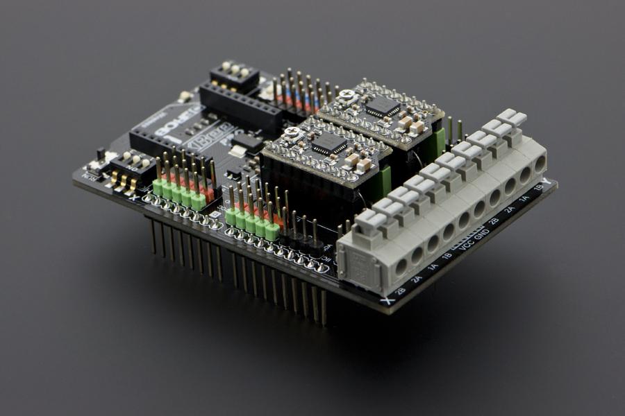 Dual bipolar stepper motor shield for arduino a