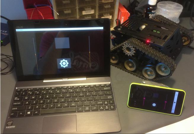 Phone and laptop for devastator robot programming