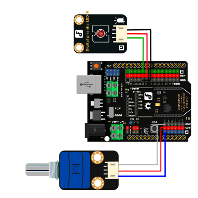 DFRobot Arduino Rotation Potentiometer Sensor Diagram