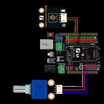 DFRobot Arduino Rotation Potentiometer Sensor Diagram