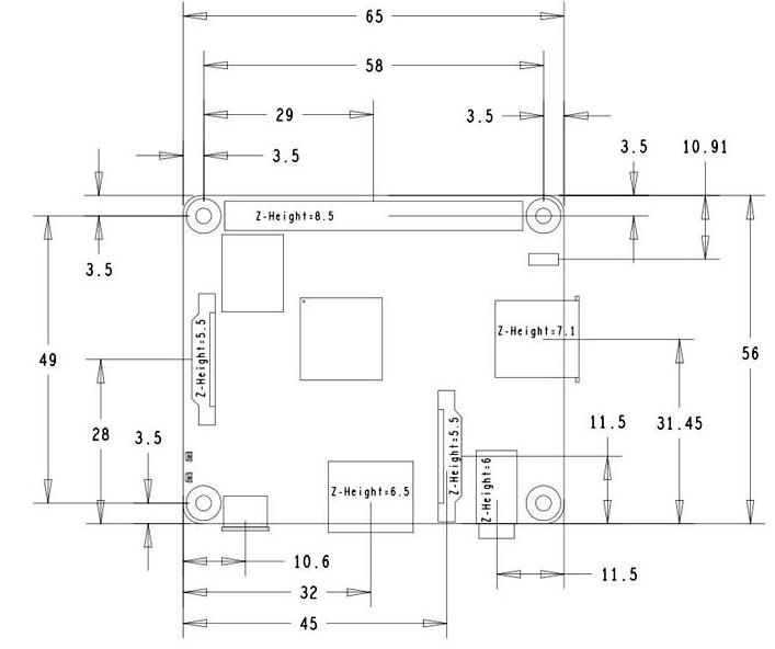 Raspberry Pi 3 Model A+ (E14) Dimension Diagram