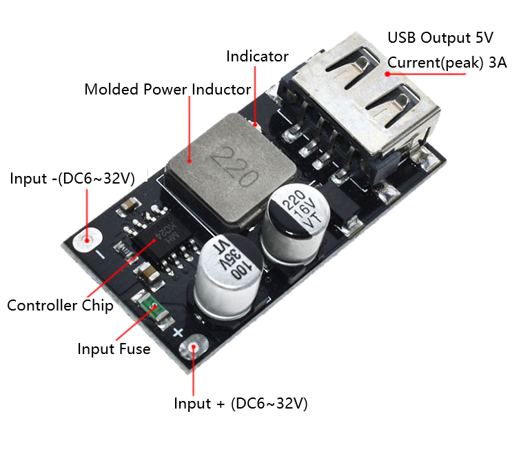 DC-DC Fast Charge Module 6~32V to 5V/3A