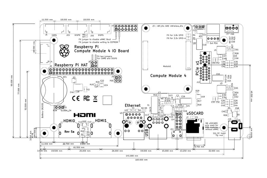 Raspberry Pi Compute Module 4 IO Board Overview