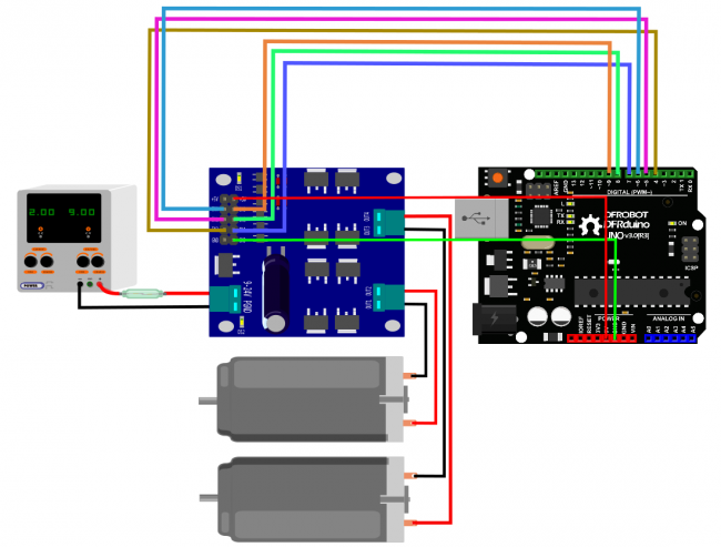 2x7A DC Motor Driver Arduino Connection - DFRobot