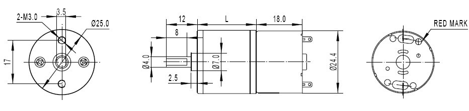Metal DC Geared Motor - DFRobot dimension