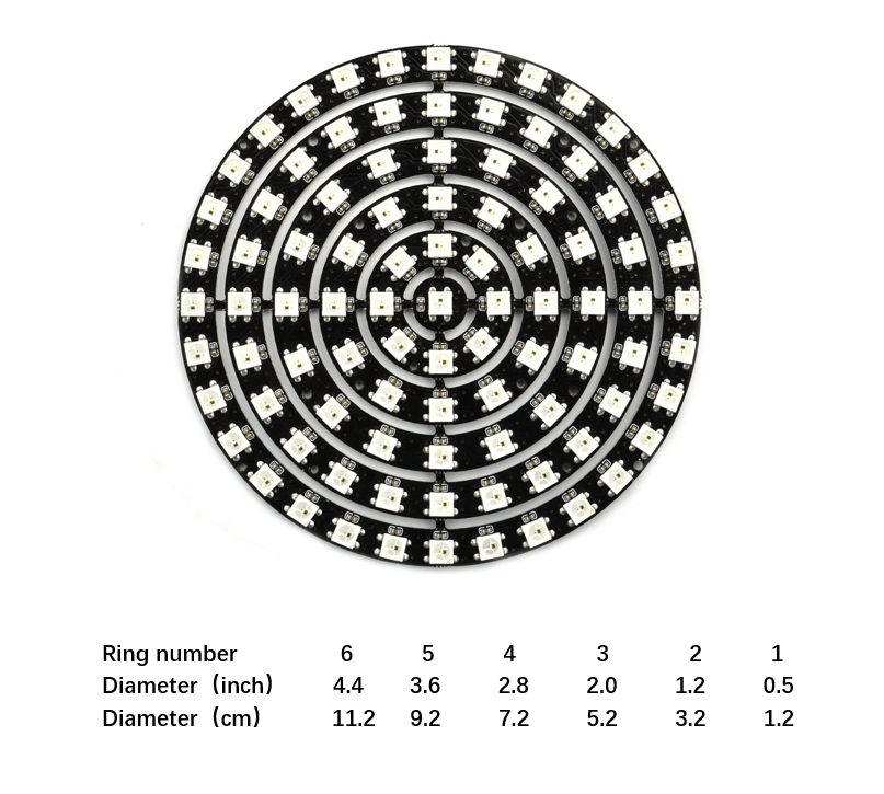 93LEDsWS2812BRGB6RingLamp