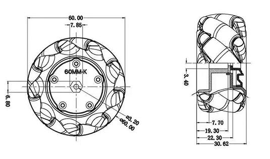 Mecanum Wheel Left - Black (60mm)