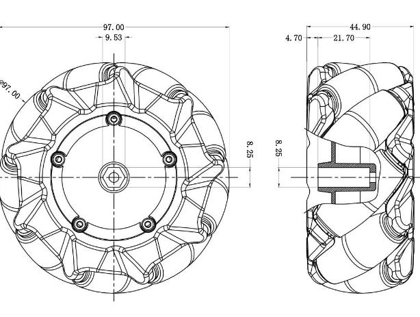 Mecanum Wheel Left - Black (97mm)