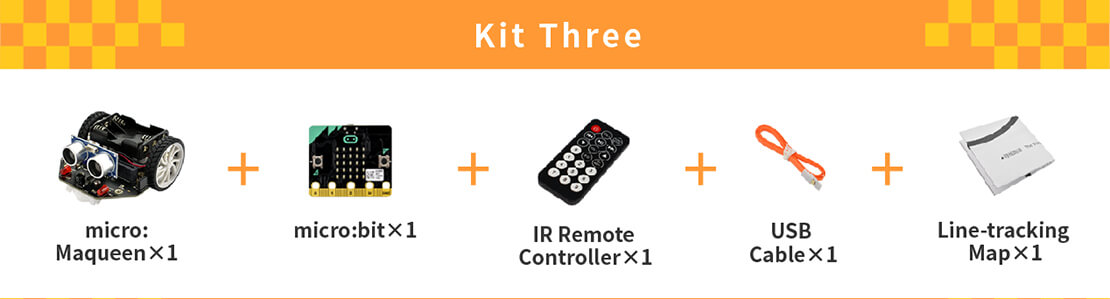 micro: Maqueen (with micro:bit/IR Remote Controller), micro: Maqueen, micro:bit, IR Remote Controller