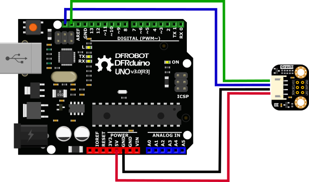 TCS34725 RGB Color Sensor For Arduino Connection Diagram -DFRobot