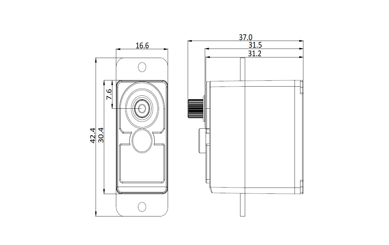2Kg 300° Clutch Servo, Mechanical Dimensions
